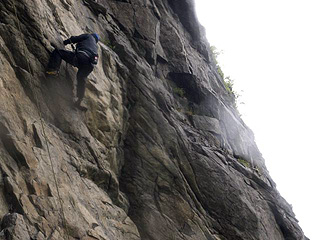 Chris going up Eggulf, a 5+