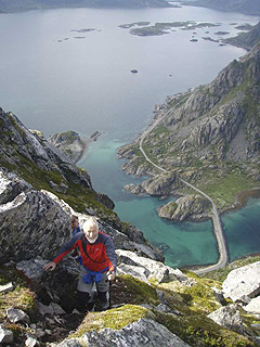 Looking down on the bridge of Henningsvaer
