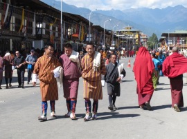 Men wearing Bhutanese dress
