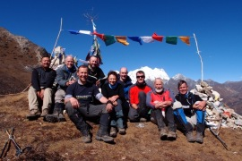 The team and a fine view of Kangcheda (6800m)