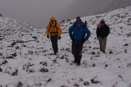 Walking in the snow - it started as we gained height