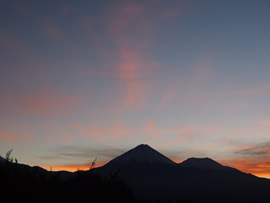 The view at dawn of Volcan Licancabur