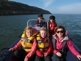 On a boat near Puffin Island