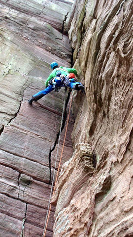 Leo climbing the Old Man of Hoy